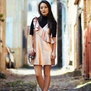 Zara Metallic Ruffle Rosegold Mini Dress